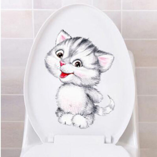 Cat Kitten Toilet Seat Sticker Vinyl Art Removable Bathroom Wall Stickers one