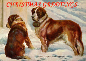 SAINT BERNARD AND GIRL COLEMANS STARCH ADVERT LOVELY DOG GREETINGS NOTE CARD