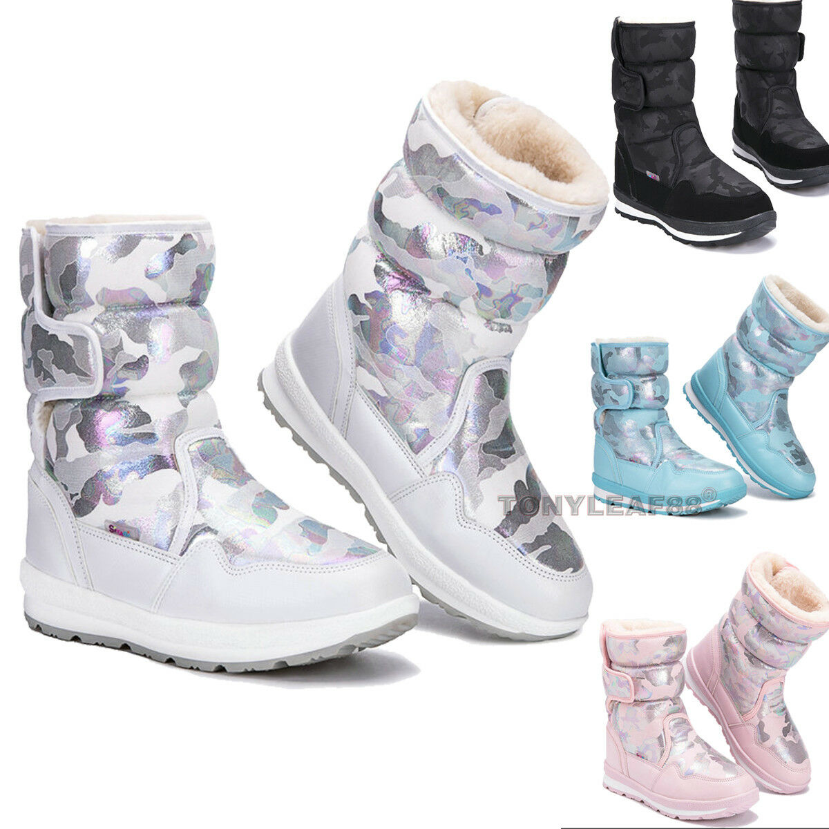 Kids Baby Boys Girls Snow Boots Waterproof Toddler Winter Thicken Warm Shoes