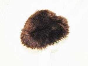 Dark-Brown-S-M-Shearling-Fuzzy-Fur-Winter-Hat-Sheepskin-Suede-Lined-Apres-Ski