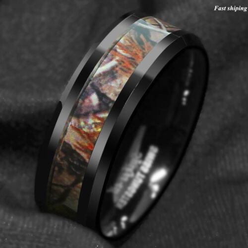 Black Tungsten Men/'s Red Forest Camouflage Camo Hunting ATOP Band Ring Size 6-13