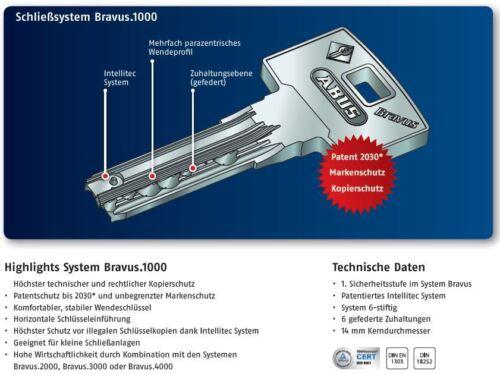 30//10 Abus Bravus 1000 Halbzylinder Profilzylinder Türzylinder Bohrschutz Karte
