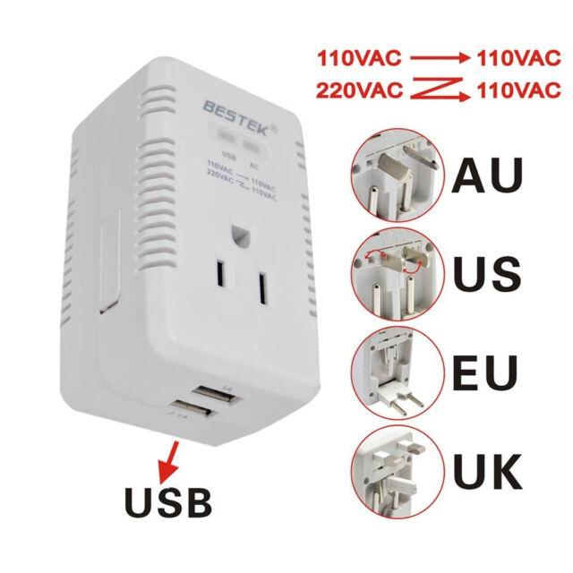 BESTEK Portable charger universal adapter travel converter voltage 220V to 110V