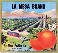 Riverside La Mesa Scenic Train Car Orange Citrus Fruit Crate Label Art Print