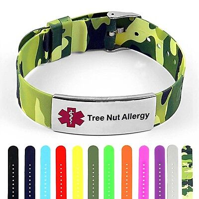 Idtagged Silicone Medical Alert Tree Nut Allergy Polished