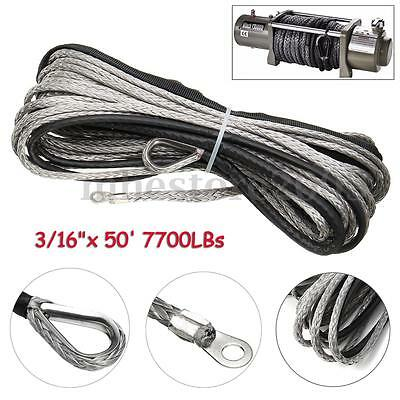 "3//16/"" x 50/' Grey Synthetic Winch Wire Cable Rope 6500LBs Sheath For ATV UTV WARN"
