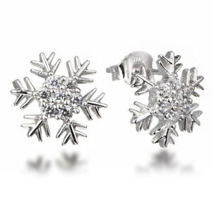 Image Is Loading 925 Sterling Silver Cz Stone Cubic Zirconia Snowflake