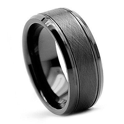Tungsten Carbide Ring Wedding Band Mens Jewelry Black Brush Bevel Edge ~ NEW