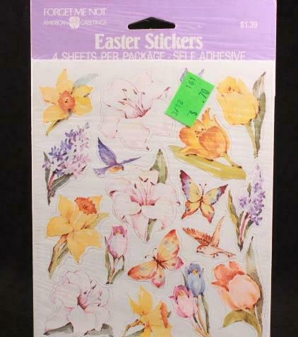 American Greetings Forget me Not 4 Sheet Easter Flower Stickers Sealed