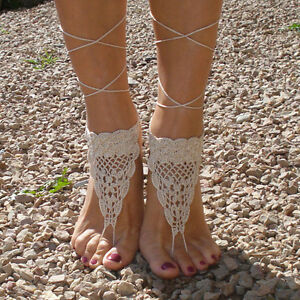 Crochet Barefoot SandalsBeach Foot jewelry Anklets Wedding shoes
