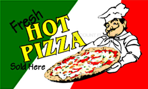 FRESH HOT PIZZA Flag 3x5 Polyester
