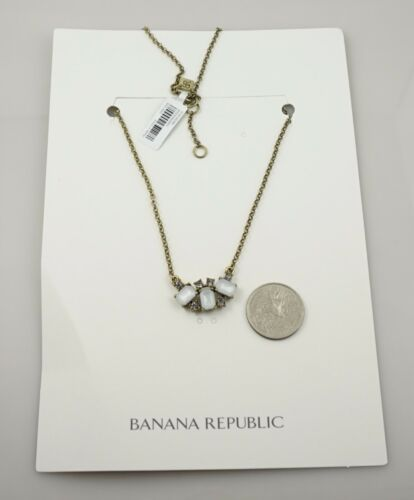 $45 Banana Republic Moonlight Delicate Crystal Gold Chain Statement Necklace!NWT