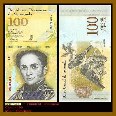 VENEZUELA 100000 100,000 BOLIVARES 2017 P 100 UNC LOT 10 PCS