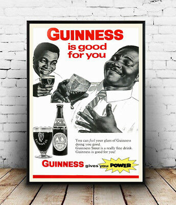 reproduction. Guinness wall art poster old Beer advert