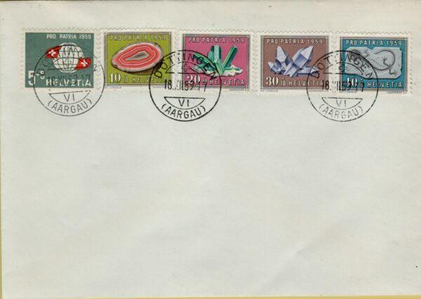 143698 Rara Busta Filatelica Svizzera Francobolli Minerali Renforcement De La Taille Et Des Nerfs