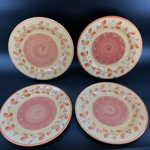 Pier-1-Genoa-Dinner-Plates-11-1-4-034-Hand-Painted-Italy-Lot-Of-4-Orange-amp-Yellow