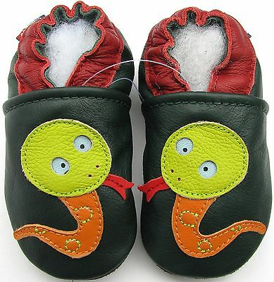 carozoo soft sole leather baby shoes snake dark green 12-18m