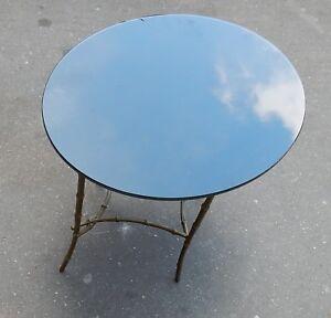1950/70 Table Basse Plateau Verre Noirci Maison Bagués En Laiton Saveur Aromatique