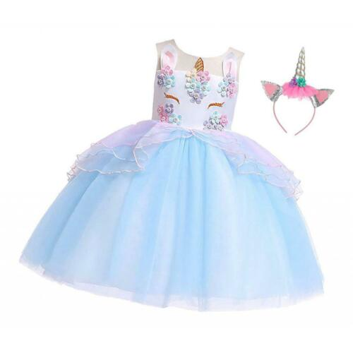 Girls Princess Dress Kids Party Formal Wedding Sleeveless Prom Dress
