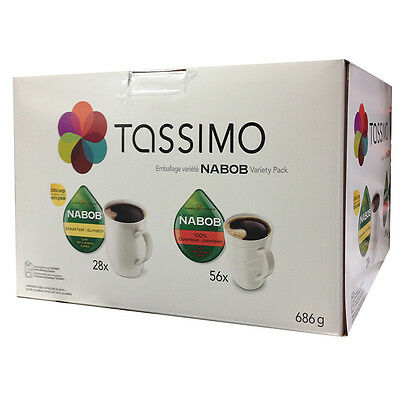84 T-Discs, Tassimo Nabob Coffee, Variety Pack, Large cafe, 100% Arabica caffe.