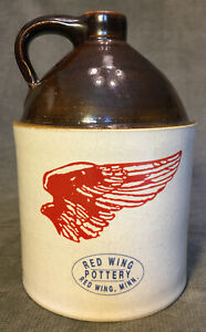Red-Wing-Pottery-Small-Brown-Handled-Jug-Logo-7-Made-By-A-W-Wilson