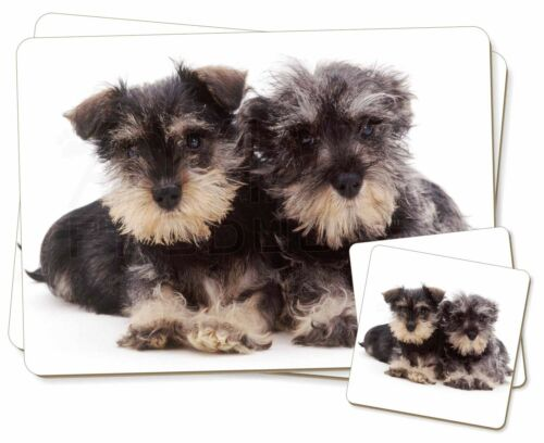 AD-S75PC Miniature Schnauzer Dogs Twin 2x Placemats+2x Coasters Set in Gift Box