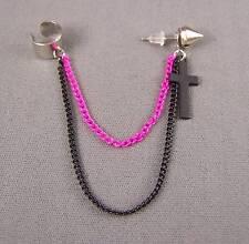 """Pink Black CROSS Spike Rivet stud earring ear Cuff 3.5"""" long chain dangle"""