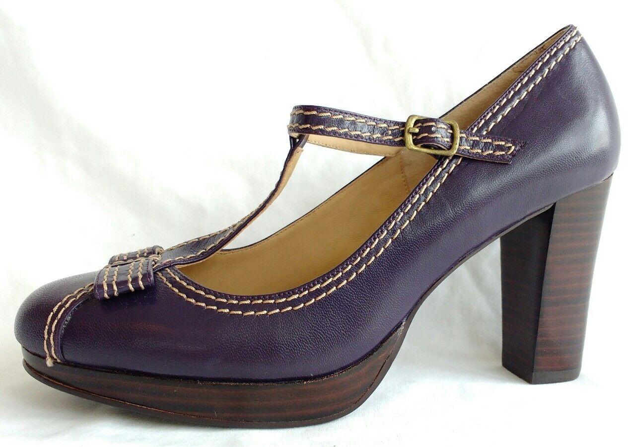 Etapa de de de playlord para mujeres Damas De Cuero Púrpura Mary Jane Zapatos Talla 5 38 Nuevo  marcas de diseñadores baratos