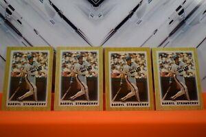 4 card lot - 1987 Topps Mini Leaders Mets Baseball Card #26 Darryl Strawberry