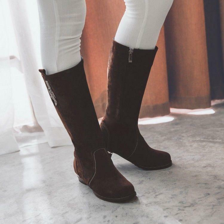 Elegante gamuza sintética para mujer botas de Montar botas Taco Taco Taco Bajo a mitad de la pantorrilla Caballero Zapatos 2019  elige tu favorito