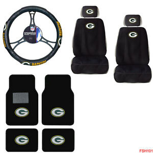 nfl green bay packers car truck seat covers steering wheel cover floor mats set ebay. Black Bedroom Furniture Sets. Home Design Ideas