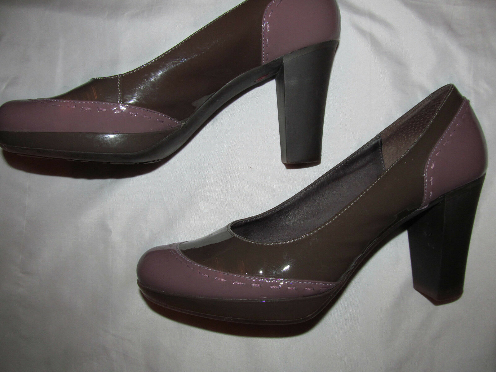 CAMPER ARIADNA taupe Braun and purple court patent Leder pumps schuhe 38 8 M