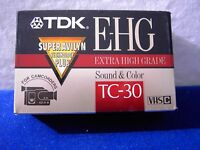 Lot of 5 TDK E-HG Extra High Grade TC-30 Camcorder Tape Super Avilyn NEW!