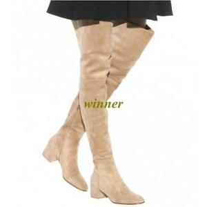 Womens-Faux-Suede-leather-Over-The-Knee-Boots-High-Heel-Block-Formal-Party-Shoes