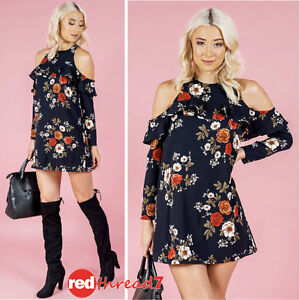 Womens-Cold-Shoulder-Frill-Long-Sleeve-Shift-Mini-Dress-Top-Lined-Floral-Blue
