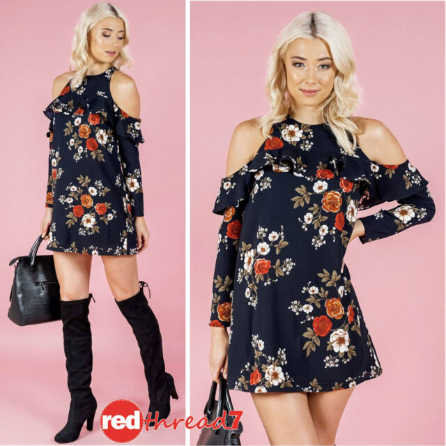 Womens Cold Shoulder Frill Long Sleeve Shift Mini Dress Top Lined Floral Blue