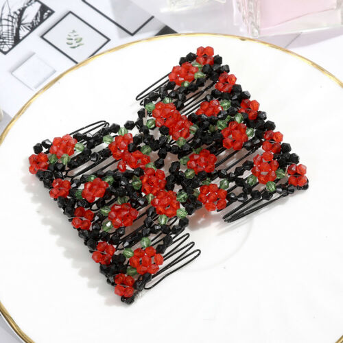 Ladies Pearl Rhinestone Double Hair Comb Stretchy Slide Hair Comb Accessories
