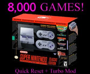SNES Classic 8000+ Games Super Nintendo Classic - Quick Reset & Turbo Mod!