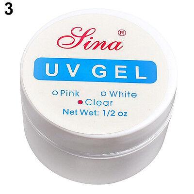 3 Color Set Nail Art Tips UV Gel Builder Glue Pink White Clear Tips Manicure Set