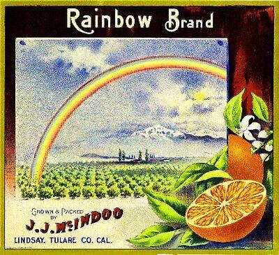 Lindsay Tulare County Rainbow #2 Orange Citrus Fruit Crate Label Art Print