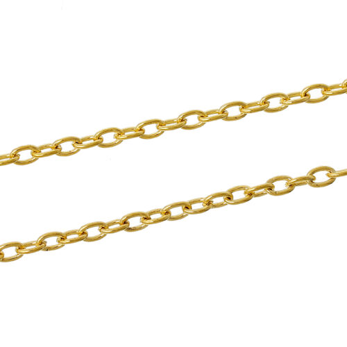 Olive Oval link Chain 5x3mm lobster clasp s166 Gold plated Necklace Yellow