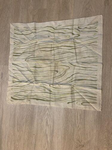 1940's Silk Scarf Greens Wood Grain Print VINTAGE