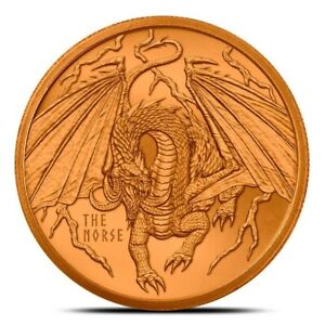 1-oz-Copper-Round-The-Norse-World-of-Dragons-Series