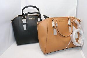 Dettagli su Michael Kors Ciara Large Saffiano Leather Satchel Bag Black,Acorn,Truffle,Gr