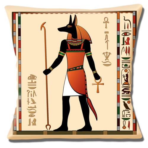 Cubierta Cojín dios egipcio Anubis 16x16 pulgadas 40cm Chacal cabeza Hombre Antiguo símbolo