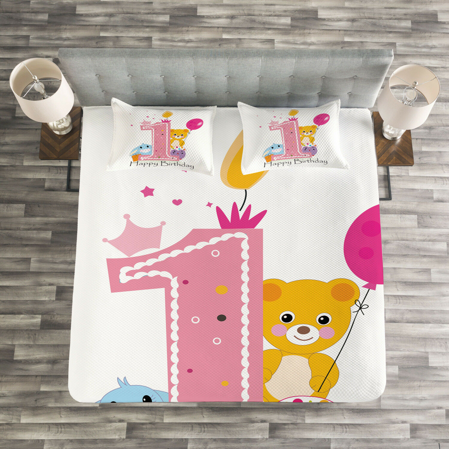 Birthday Quilted Bedspread & Pillow Shams Set, Princess Girl Party Print