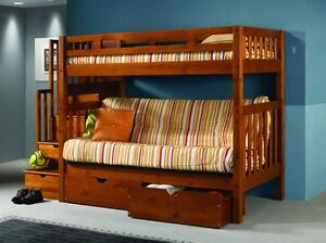 Details About Bunk Bed With Futon Stairs Storage