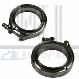 2-X-3-039-039-Stainless-Steel-V-Band-Flange-amp-Clamp-Assembly-Kit-For-Exhaust-Downpipes