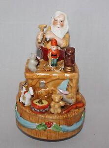 Santa Claus Workshop Music Box Christmas Plays Jingle Bells Rotates | eBay
