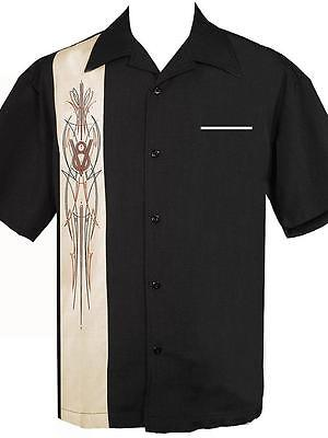 Steady V8 Pinstripe Button up shirt Rockabilly Hot Rod Retro Rock steady